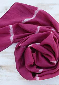 Silk scarf cochineal stripes