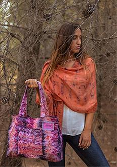 Wool-silk scarf orange & purple